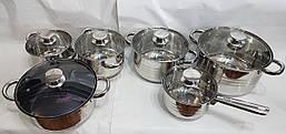Набор посуды UNIQUE UN-5036 из нержавеющей стали 12 предметов, фото 2