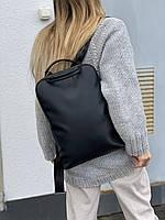 Рюкзак женский городской для ноутбука средний непромокаемый из экокожи черный, фото 1