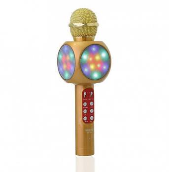 Беспроводной микрофон караоке с динамиком и цветомузыкой Wster Ws-1816 yellow, фото 2