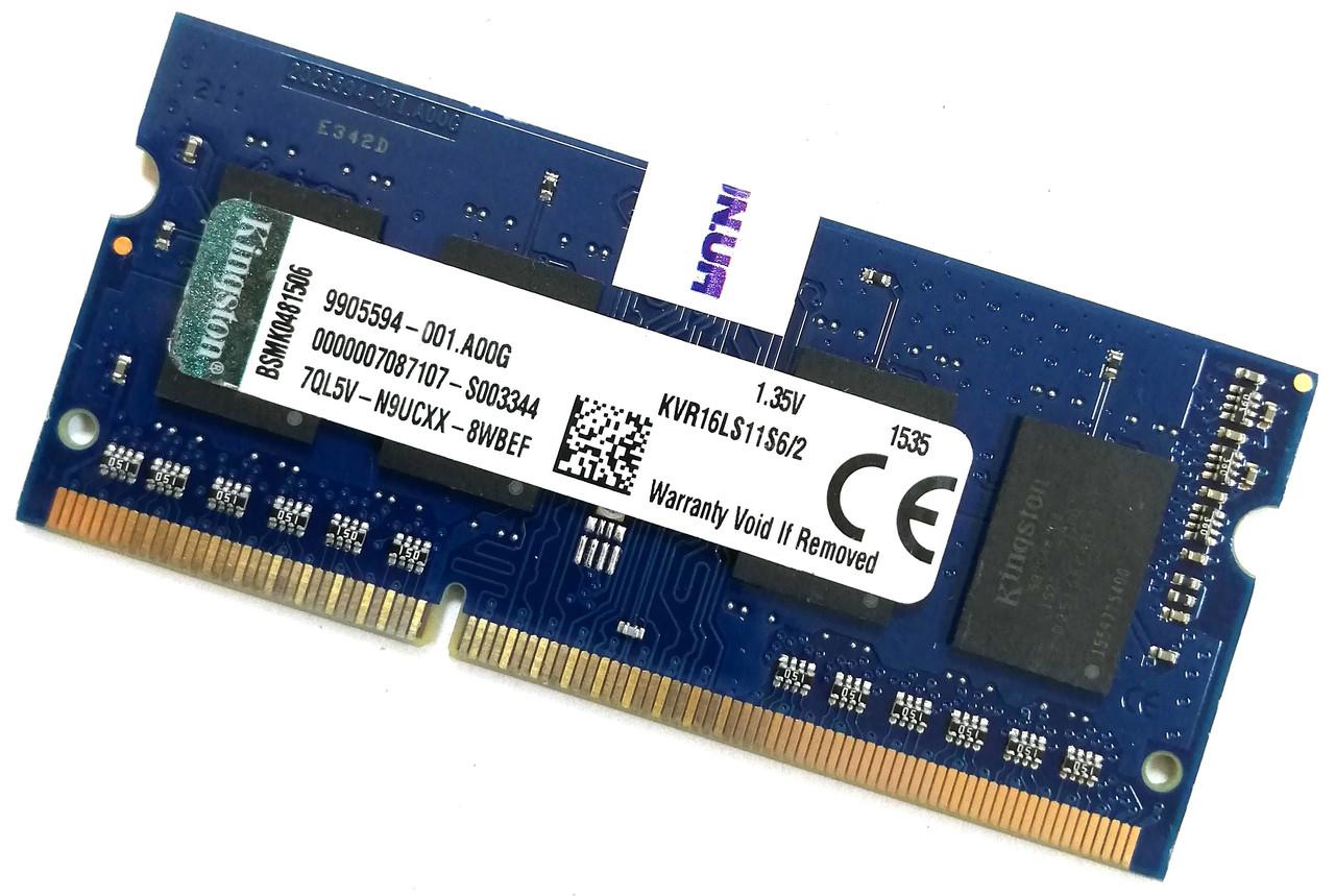 Оперативная память для ноутбука Kingston SODIMM DDR3L 2Gb 1600MHz 12800s 1R16 CL11 (KVR16LS11S6/2) Б/У