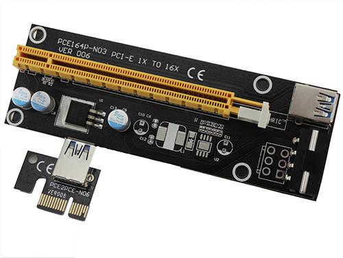 PCI-Express PCI-E 1X на 16X райзер V006 Molex USB 3.0 60см майнинг, фото 2