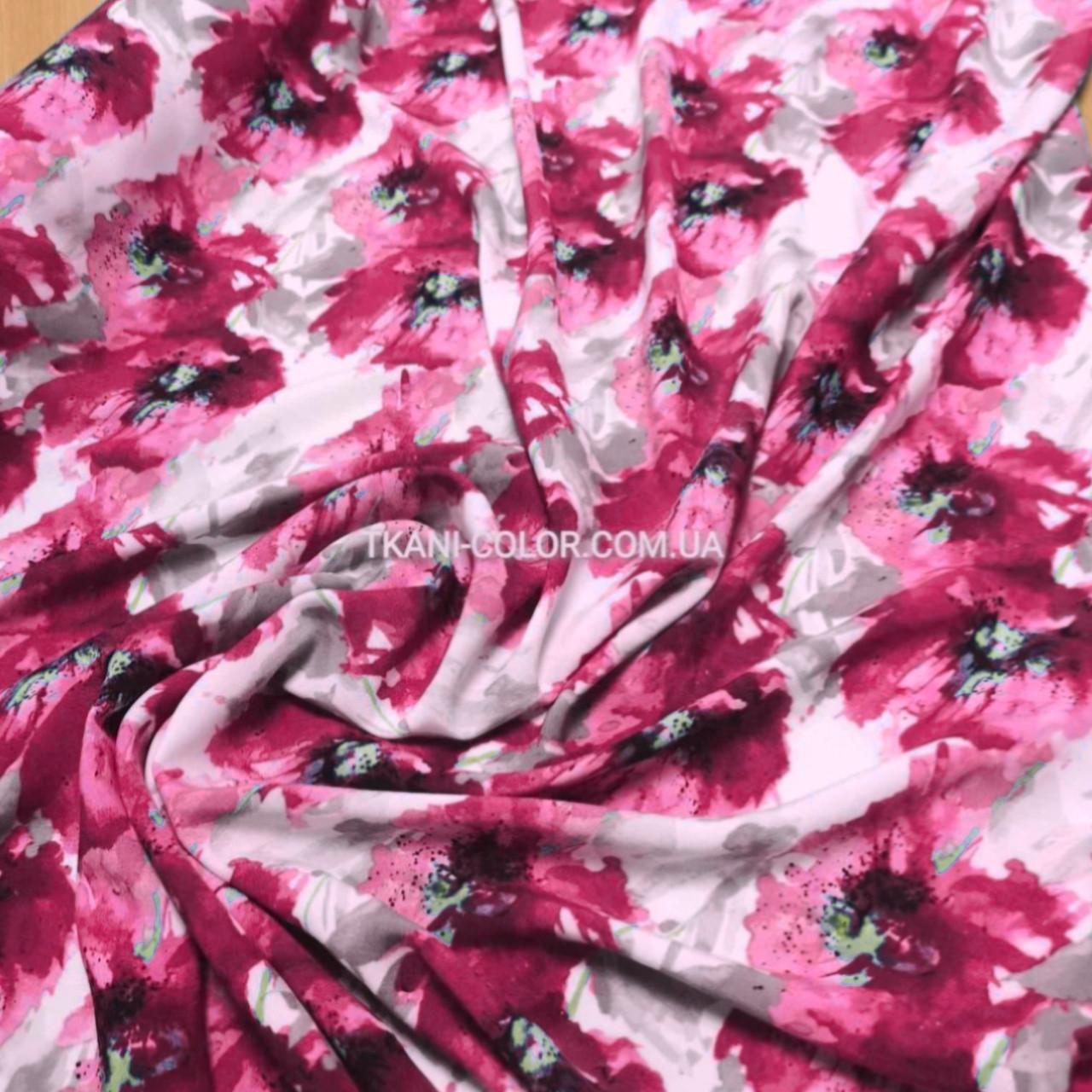 """Ткань штапель принт """"акварель"""" малиновые цветы"""