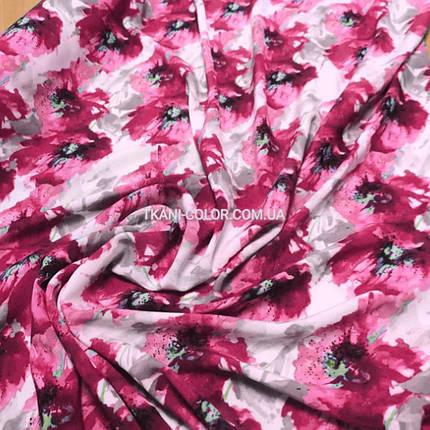 """Ткань штапель принт """"акварель"""" малиновые цветы, фото 2"""