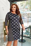 Платье женское большого размера, 50, 52, 54, 56, платье весна-осень, серое в клетку, фото 2