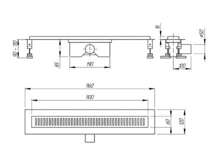 QT Линейный трап с решеткой 800*860 CRM, фото 2