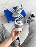 Мужские кроссовки Adidas Gazelle в стиле Адидас Газели СЕРЫЕ (Реплика ААА+), фото 2