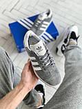 Мужские кроссовки Adidas Gazelle в стиле Адидас Газели СЕРЫЕ (Реплика ААА+), фото 4