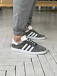 Мужские кроссовки Adidas Gazelle в стиле Адидас Газели СЕРЫЕ (Реплика ААА+), фото 6