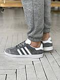 Мужские кроссовки Adidas Gazelle в стиле Адидас Газели СЕРЫЕ (Реплика ААА+), фото 7