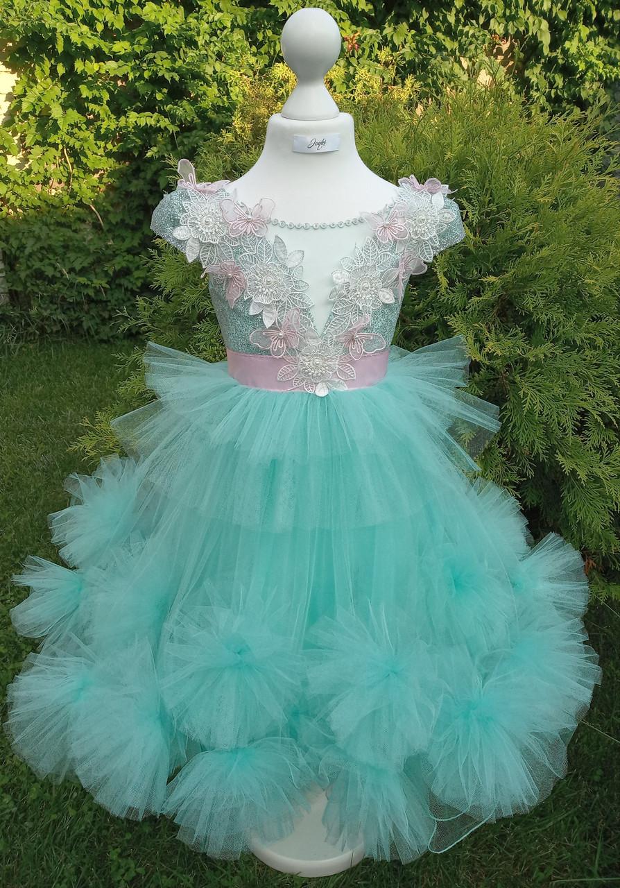 Р 116, детское нарядное платье с блестящим верхом и бирюзовой юбкой