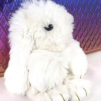 Кролики брелок с мехом 18 см Белый