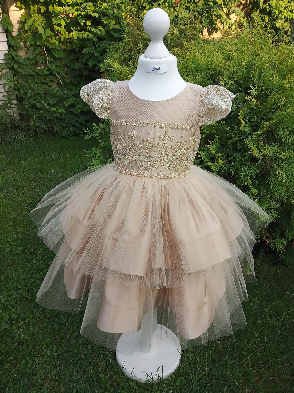 Р 116, детское нарядное платье бежевого цвета