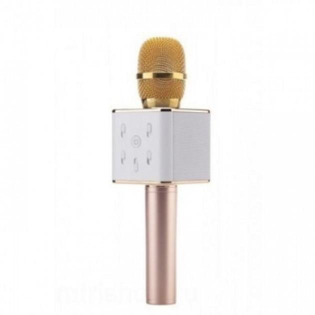 Беспроводной караоке микрофон с встроенными динамиками Bluetooth USB Q7 UTM в чехле Gold