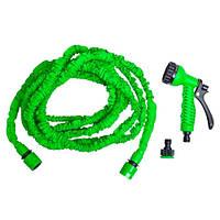Шланг поливочный Magic Hose растягивающийся до 15м с насадкой зеленый