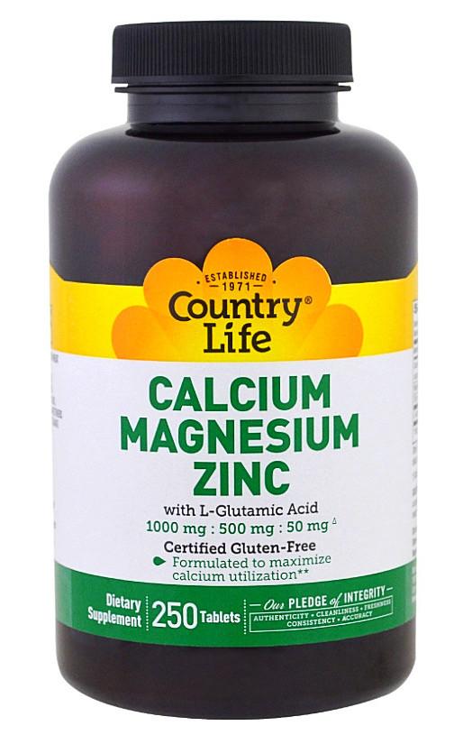 Кальций, магний и цинк, Country Life, 250 таблеток