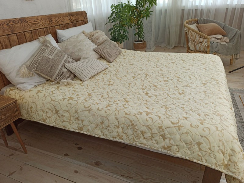 Покрывало на кровать, диван 200х220 Завиток бежевый евро