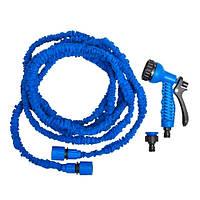 Шланг поливочный Magic Hose растягивающийся до 30м с насадкой синий