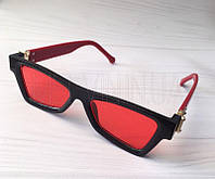 Женские солнцезащитные квадратные очки Черные с красной линзой, фото 1