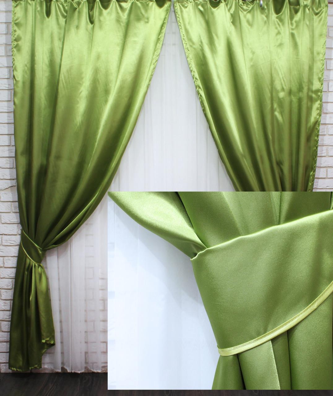 Комплект готовых штор из атласа. Цвет оливковый №46ша