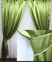 Комплект готовых штор из атласа. Цвет оливковый №46ша, фото 1