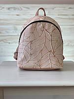 Сумка рюкзак школьный  маленький тканевый городской с принтом розовый