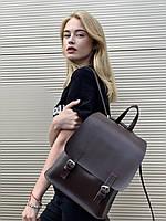 Сумка рюкзак мини школьный на кнопках с клапаном из экокожи городской коричневый