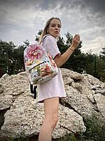 Рюкзак подростковый непромокаемый городской женский среднего размера с пионами школьный