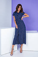 Платье на пуговицах с пояском 402 синие в горошек / синий в белый горох
