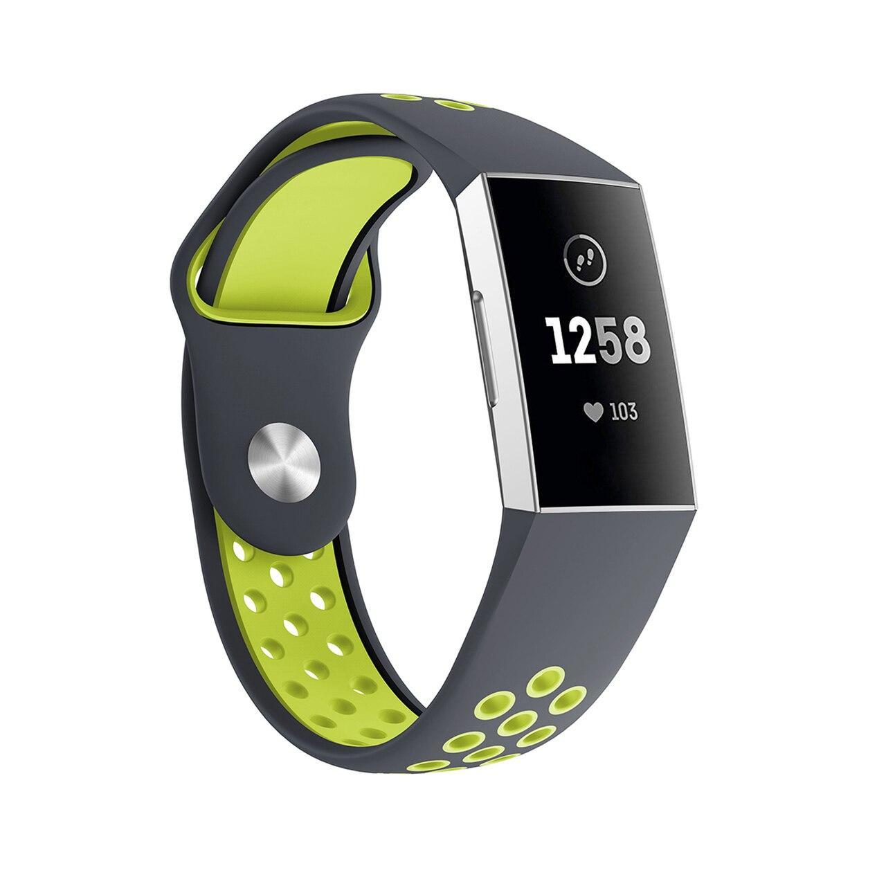 Силиконовый ремешок с перфорацией для фитнес браслета Fitbit Charge 3 / 4 - Grey&Lime
