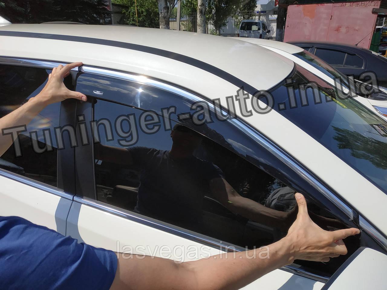 Вітровики з хромом, дефлектори вікон Nissan X-Trail/Nissan Rogue (T-32) 2014-