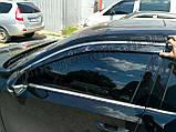 Дефлекторы окон с хром молдингом, ветровики Volkswagen Passat B7/B8 американец 2011-2018, фото 6