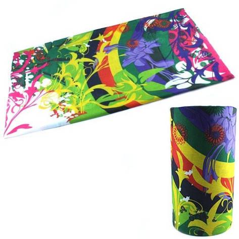 Бафф бандана-трансформер, шарф из микрофибры, цветы, фото 2