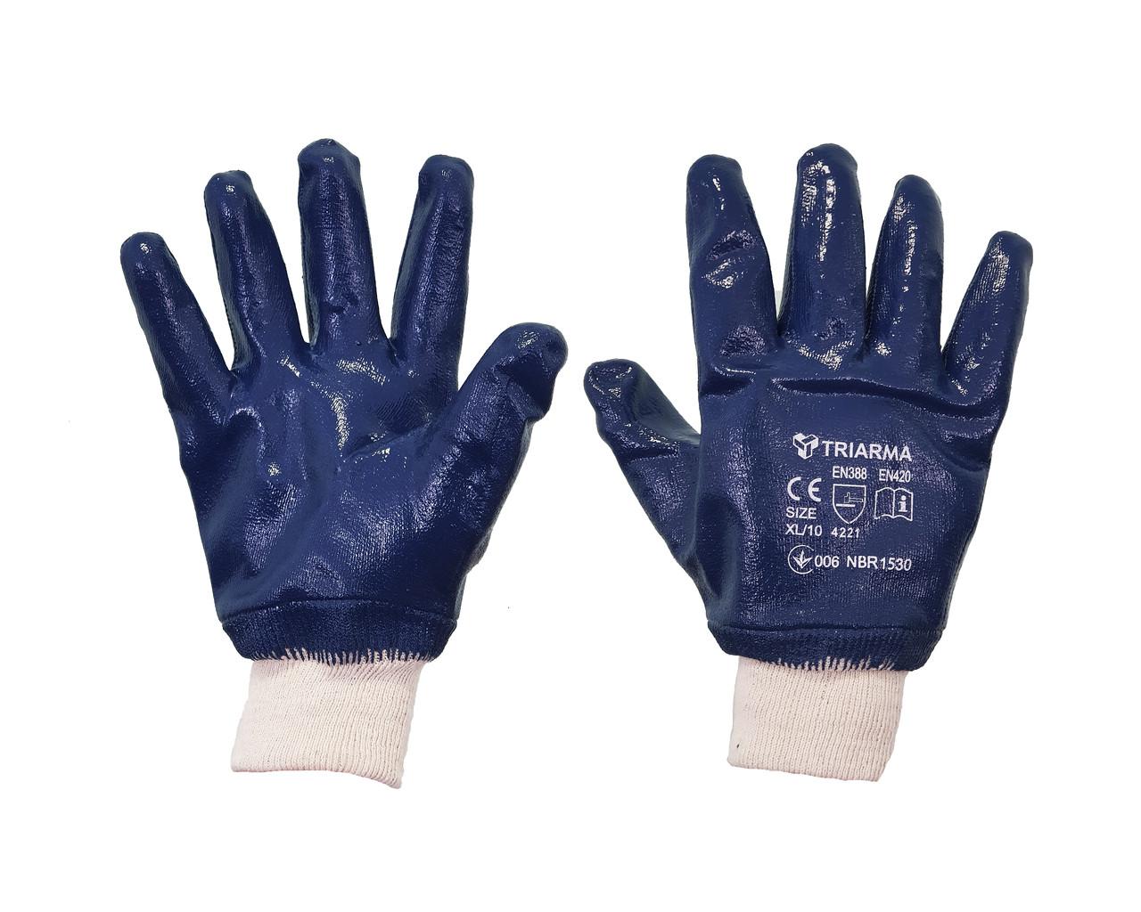 Защитные промышленные перчатки с двухслойным полным покрытием из нитрила.