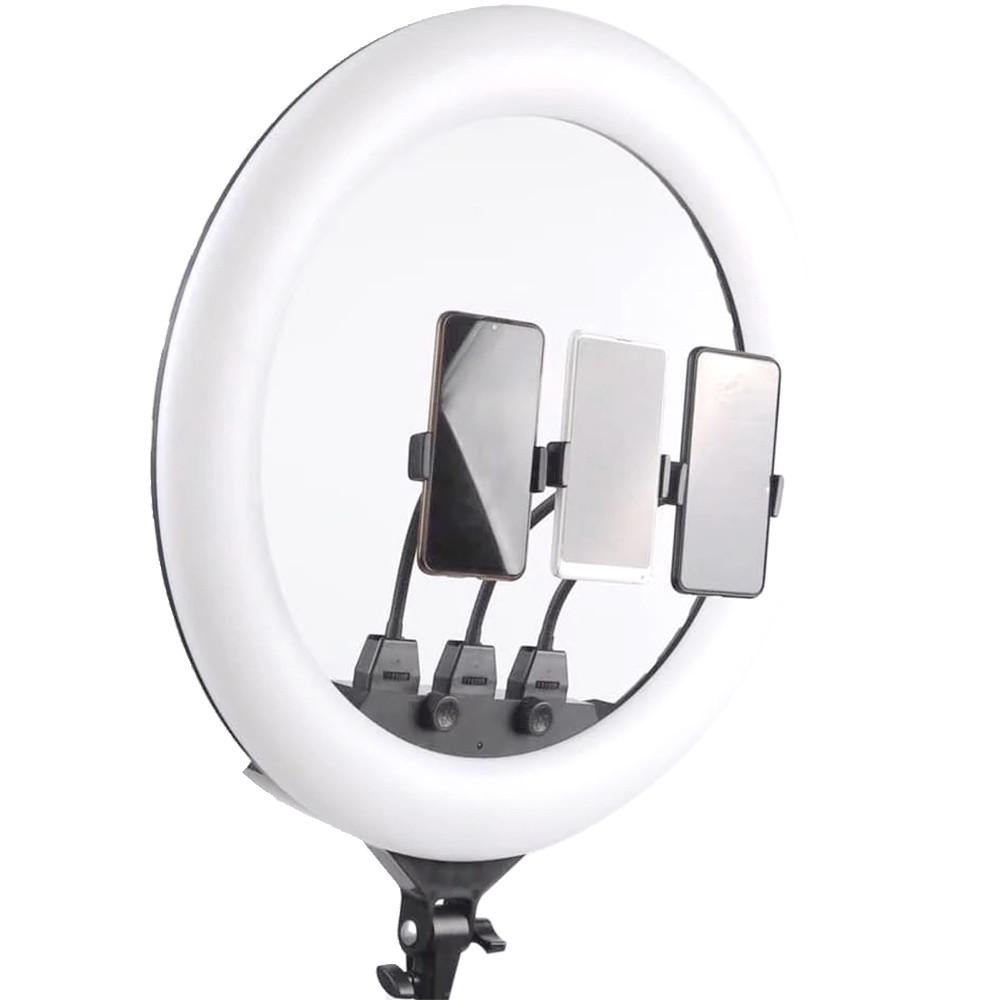 Кольцевая LED лампа с пультом ДУ и 3 держателями для телефона SLP-G63 (55 см) + ПОДАРОК: Держатель для