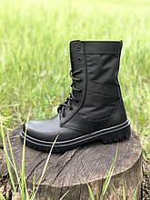 Берцы кожаные летние черные с водоотталкивающими вставками