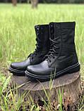 Берцы кожаные летние черные с водоотталкивающими вставками, фото 2