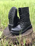 Берцы кожаные летние черные с водоотталкивающими вставками, фото 3