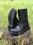 Берцы кожаные летние черные с водоотталкивающими вставками, фото 4