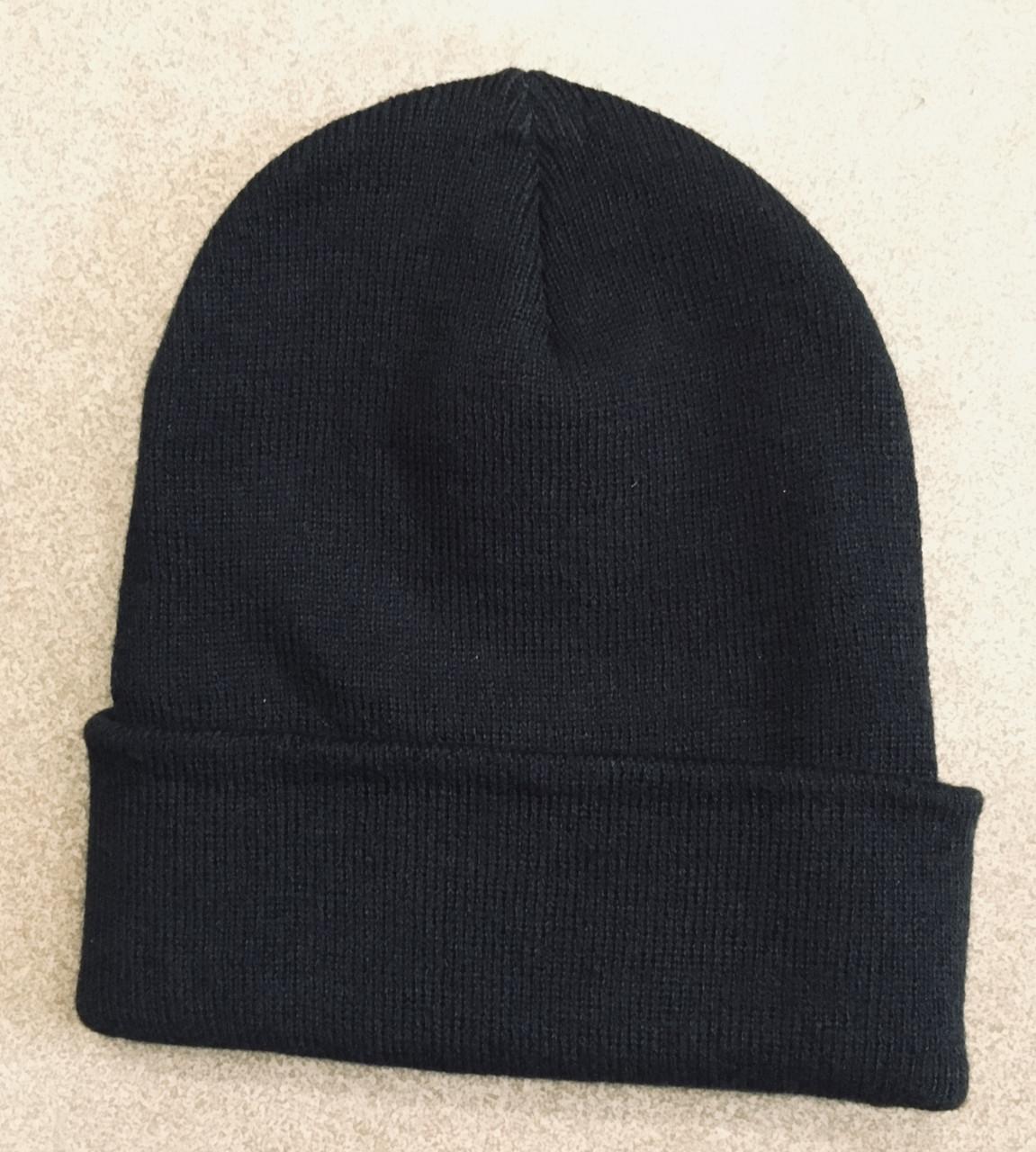 Шапка зимняя черная с отворотом