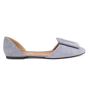 Балетки с натуральной замшевой кожи Woman's heel серые для повседневной носки