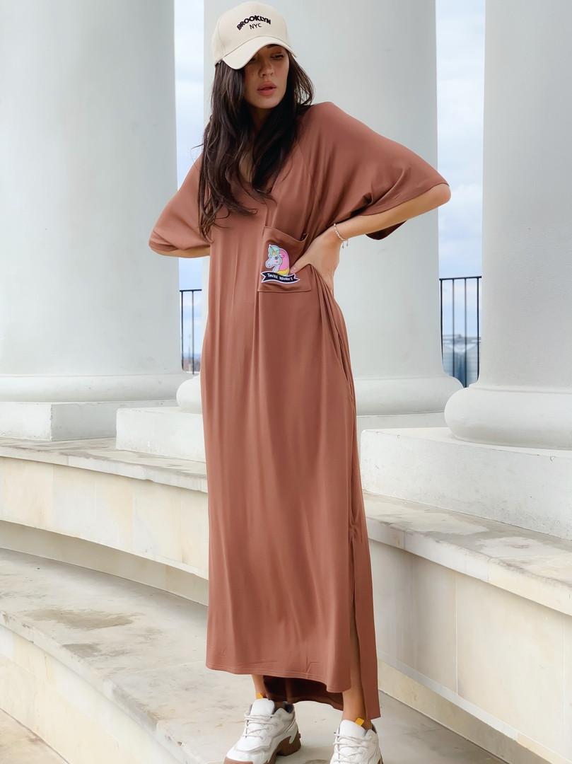 Женское платье макси со стильным кармашком единорог