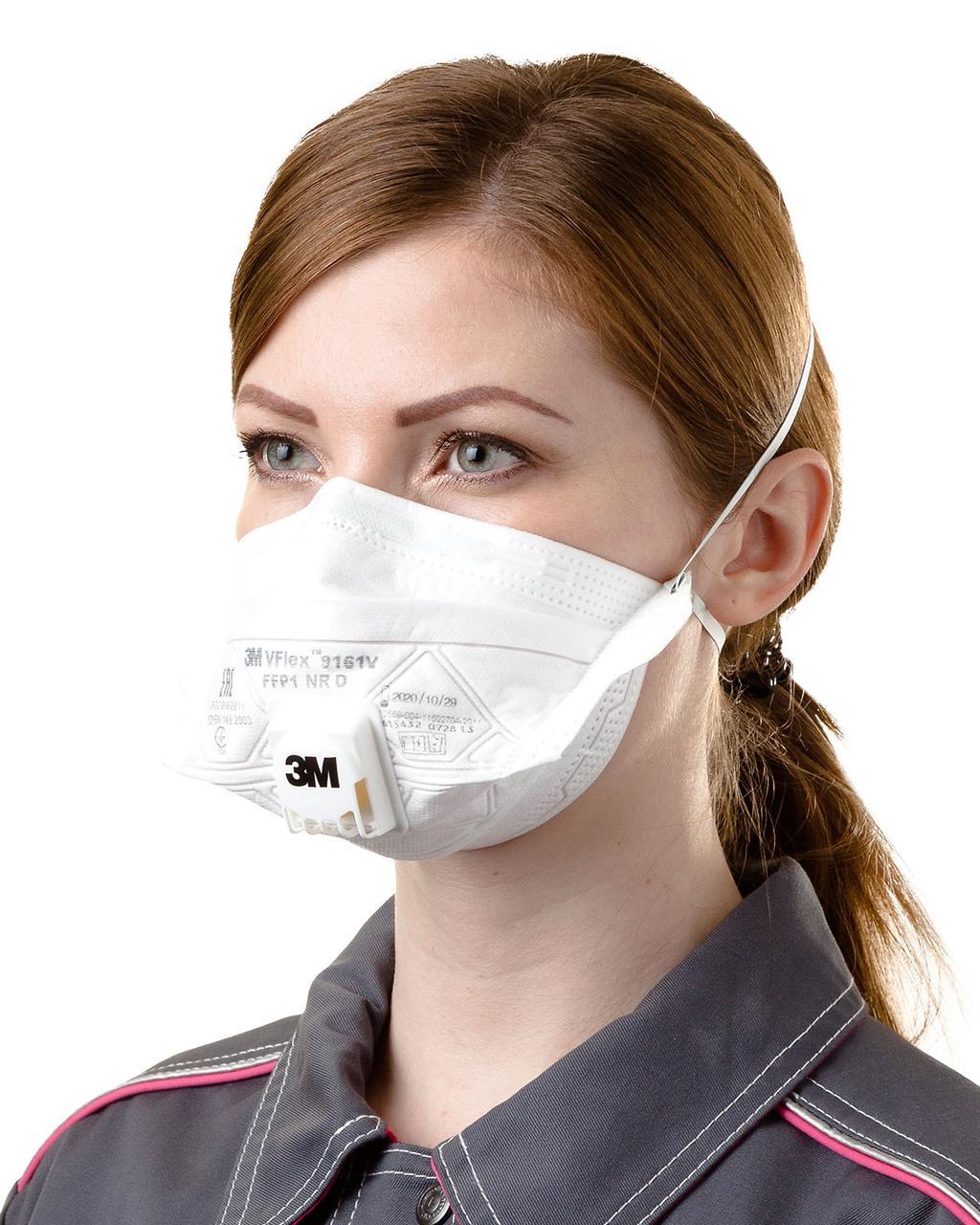 Респираторная маска 3М VFlex 9161 класс защиты FFP1 NR D продается кратно упаковке 15шт Original