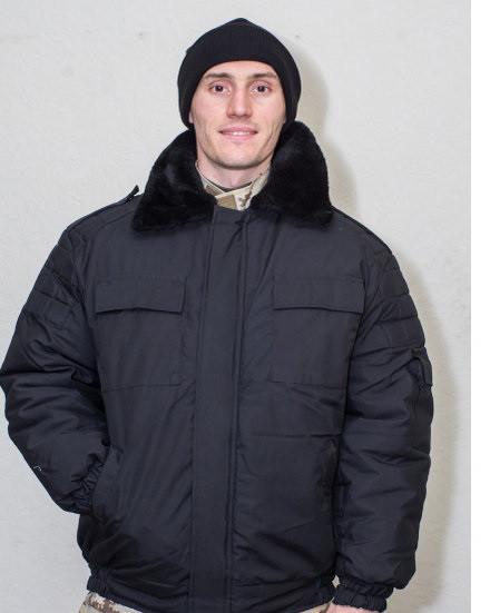 Куртка-бушлат черный зимний с капюшоном охрана Титан