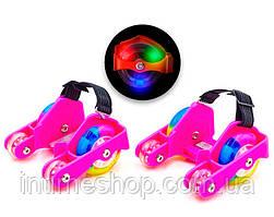 """Ролики на пятку четырехколесные """"Flashing roller"""" (hot pink) пяточные на обувь (на кроссовки) (TI)"""