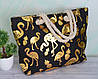 Женская тканевая пляжная сумка Золотой Фламинго