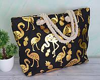 Женская тканевая пляжная сумка Золотой Фламинго, фото 1