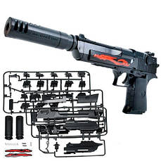 Конструктор пистолет детский на пульках Desert Eagle с глушителем DIY