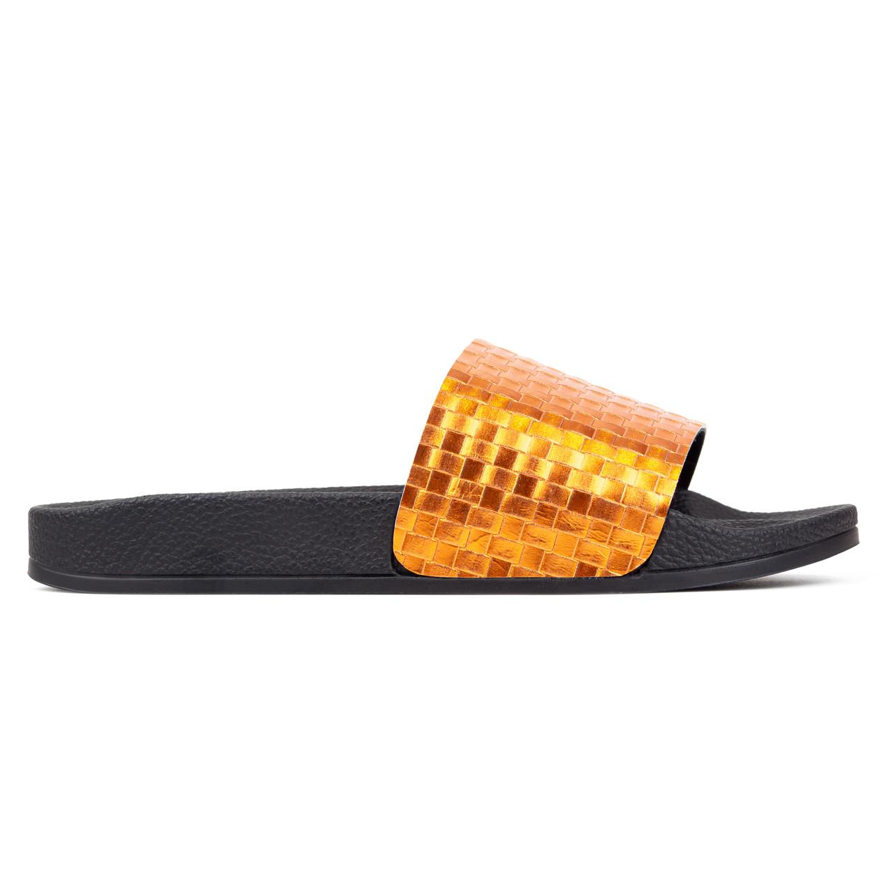 Шлепанцы женские Woman's heel кожаные золотистые (О-900)