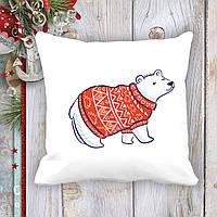 Подушка с новогодним принтом Белый медведь в свитере