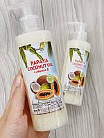 100% Натуральное Кокосовое масло с Папайя для волос и тела с витамином Е с дозатором